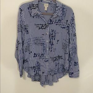 Chico's blue and white with detail long sleeve